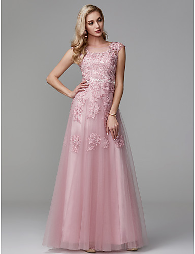 50752c276010 A-Line Scoop Neck Floor Length Lace / Tulle Prom / Formal Evening Dress  with Beading / Appliques by TS Couture®