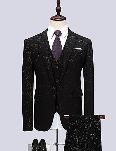Bărbați Petrecere Primăvara & toamnă Regular Costume, Geometric Rever Clasic Manșon Lung Celofibră / Spandex Negru 4XL / XXXXXL / XXXXXXL / Business Formal / Zvelt