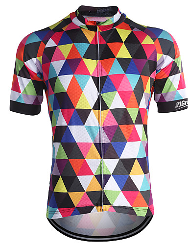 cheap Cycling Jerseys-21Grams Men's Short Sleeve Cycling Jersey Rainbow Sky Blue Green Plaid / Checkered Bike Jersey Top Breathable Quick Dry Back Pocket Sports Coolmax® 100% Polyester Mountain Bike MTB Road Bike Cycling
