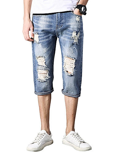 Bărbați Zvelt Blugi Pantaloni - Găurite, Mată