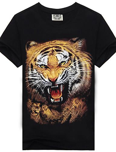 Bărbați Tricou De Bază - Bloc Culoare / Animal Imprimeu Tigru