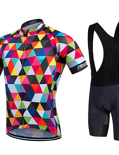 07be5a355 21Grams Men s   Women s Short Sleeve Cycling Jersey with Bib Shorts -  Rainbow Plus Size Bike