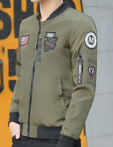 Bărbați Stand Jachetă De Bază - Mată / Geometric / Scrisă / Manșon Lung