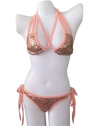 Pentru femei Halter Roz Îmbujorat Bikini cu Șnur Tankini Costume de Baie - Mată Cu Șiret M L XL / Super Sexy