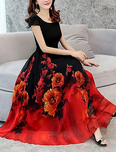 رخيصةأون الأكثر مبيعا-فستان نسائي قياس كبير شيفون متموج طويل طباعة ميدي فضفاض ورد مناسب للخارج