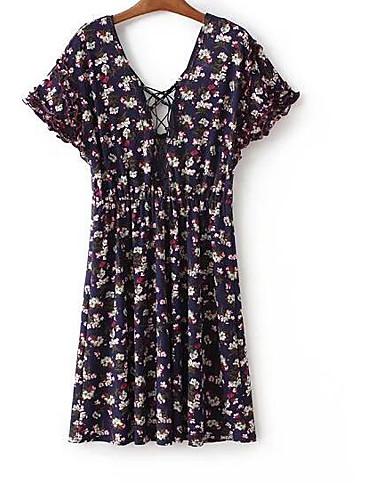 Pentru femei Mărime Plus Size Vintage Bumbac Mâneci Bufante Shift Rochie - Plisată, Mată Lungime Genunchi Albastru & Alb