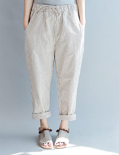 Pentru femei Activ Mărime Plus Size Bumbac Harem Pantaloni - Franjuri, Mată Alb negru / Primăvară