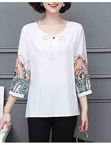 economico Maglie donna-T-shirt Per donna Fantasia floreale Bianco