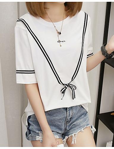 billige Dametopper-T-skjorte Dame - Bokstaver Hvit L