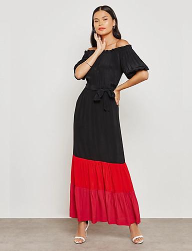 Pentru femei Șic Stradă / Sofisticat Teacă Rochie - Ruched / Peteci, Bloc Culoare Maxi Negru & Roșu