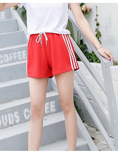 Pentru femei Activ Mărime Plus Size Bumbac Pantaloni Scurți Pantaloni - Franjuri, Mată Negru & Roșu