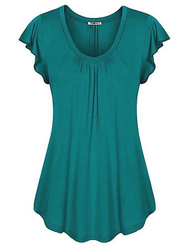 billige Dametopper-U-hals Store størrelser T-skjorte Dame - Ensfarget Fuksia