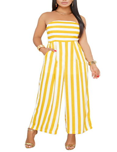 abordables Hauts pour Femmes-Femme Rayé Quotidien Sans Bretelles Bleu Jaune Ample Combinaison-pantalon, Rayé XL XXL XXXL Sans Manches