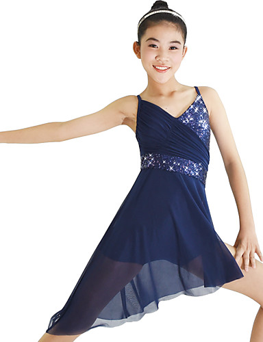 Ballet Vestidos Mujer Rendimiento Elástico   Malla   Licra Fruncido    Combinación   Separado Sin Mangas Cintura Media Joyería de Pelo   Vestido 890e812b8ac