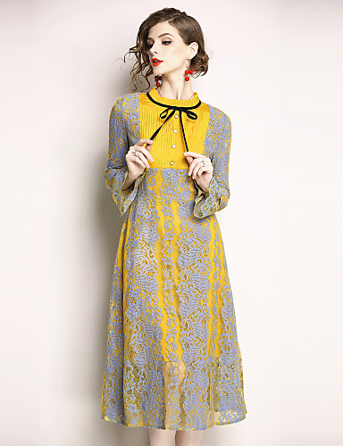 99abc4e2bd9 Women s Holiday   Going out Vintage   Sophisticated Flare Sleeve A Line  Dress - Color Block Lace Stand Spring Yellow L XL XXL