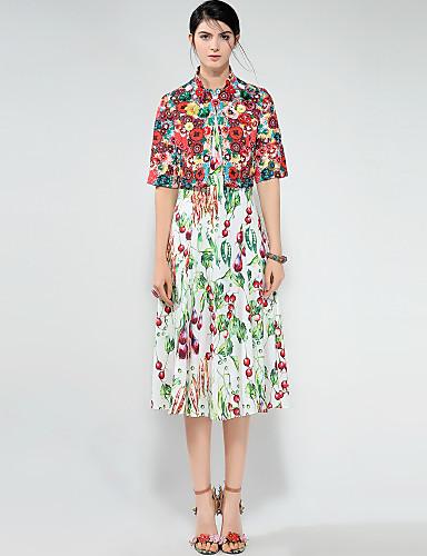 Pentru femei Activ / Chinoiserie Concediu / Ieșire Set - Floral, Rochii Imprimeu Cu Bretele / Primăvară / Vară