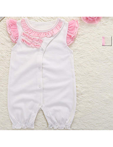 cheap With Lovely Romper-Baby Girls' Basic Daily Solid Colored Ruched / Basic Short Sleeves Cotton / Polyester Romper White