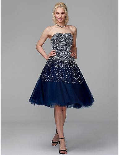 Ball Gown Strapless Knee Length Tulle Sparkle & Shine Cocktail Party / Prom Dress with Beading / Sequin / Pearls by TS Couture®