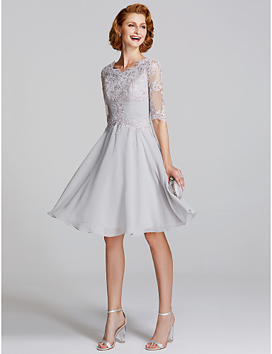 17932402c A-Line Scoop Neck Knee Length Chiffon / Lace Mother of the Bride Dress with  Appliques / Pleats by LAN TING BRIDE® / Illusion Sleeve / See Through