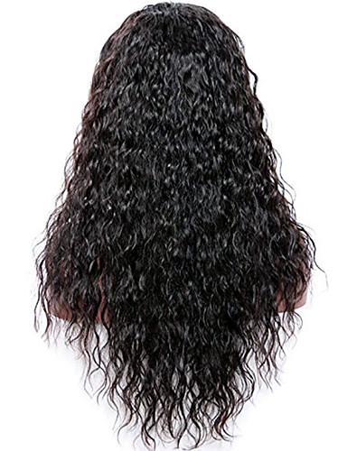billige Blondeparykker med menneskehår-Ubehandlet hår Blonde Forside Parykk Deep Parting stil Brasiliansk hår Bølget Naturlig Svart Parykk 130% 150% 180% Hair Tetthet Dame Dame Lang Blondeparykker med menneskehår Premierwigs