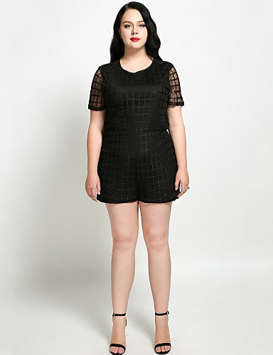 78517d6427ed6 Women s Plus Size Daily   Holiday Street chic   Sophisticated Crew Neck  Black Oversized Romper