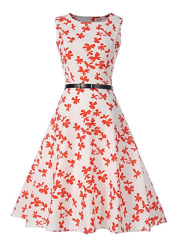 Pentru femei Vintage Swing Rochie Floral Lungime Genunchi