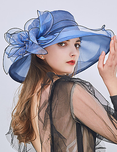 cheap Women's Accessories-Women's Party / Holiday Lace Bucket Hat / Floppy Hat / Straw Hat - Patchwork Ruffle / All Seasons