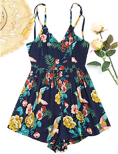 Pentru femei Ieșire / Plajă Cu Bretele Verde Militar Salopete, Floral M L XL Fără manșon