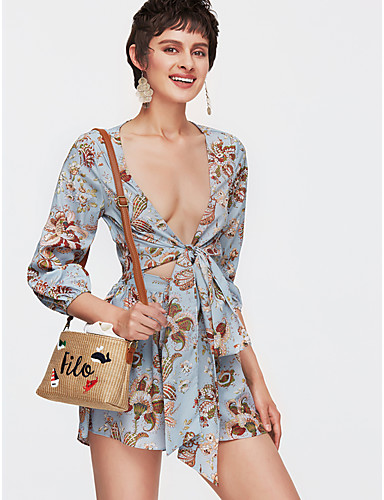 Žene Osnovni Šifon Haljina Jednobojni / Cvjetni print Mini