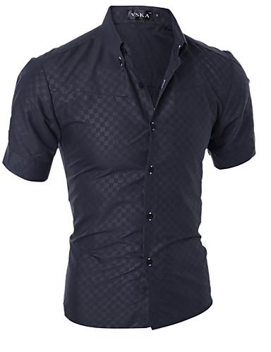 cheap Sale-Men's Basic Cotton Slim Shirt - Solid Colored / Short Sleeve / Summer