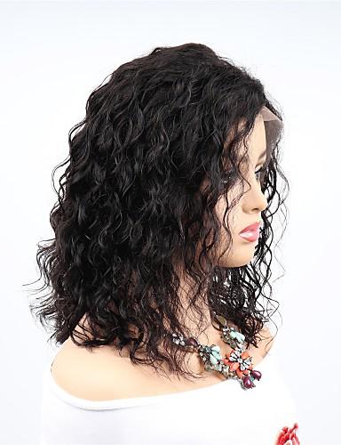 abordables Perruques Naturelles Dentelle-Perruque Cheveux Naturel Rémy Full Lace Cheveux Brésiliens Ondulé Noir Coupe Asymétrique Femme Densité 130% 150% 180% Homme Faciliter l'habillage Sexy Lady Meilleure qualité Grosses soldes 8-14 Noir