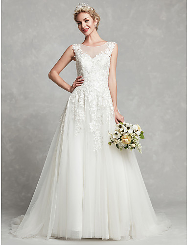1045286cf7a A-Line Bateau Neck Court Train Lace   Tulle Made-To-Measure Wedding Dresses  with Lace by LAN TING BRIDE®