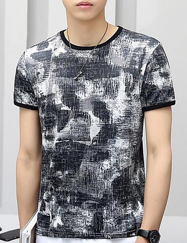 男性用 Tシャツ ストリートファッション ラウンドネック カモフラージュ ブルー XXL / 半袖