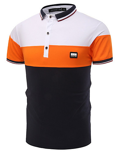 Herrn Einfarbig Arbeit Polo, Hemdkragen Blau XL / Kurzarm