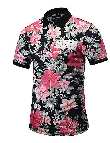 77a8e55478 Men's Basic Cotton Polo - Floral Print Shirt Collar / Short Sleeve