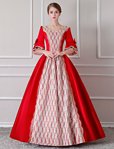 3cdb2c9c Rococo Renaissance 18th Century Costume Women's Dress Outfits Party Costume  Masquerade Red / White Vintage Cosplay Lace Party Prom 3/4 Length Sleeve  Puff ...