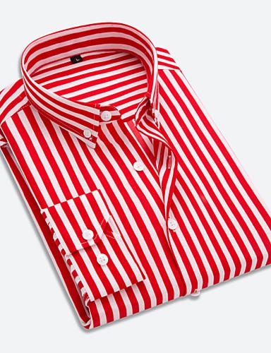 cheap $15-$20-Men's Daily Work Business Cotton Shirt - Striped Button Down Collar Red / Long Sleeve