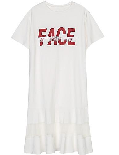 Žene Majica Haljina Jednobojni Iznad koljena