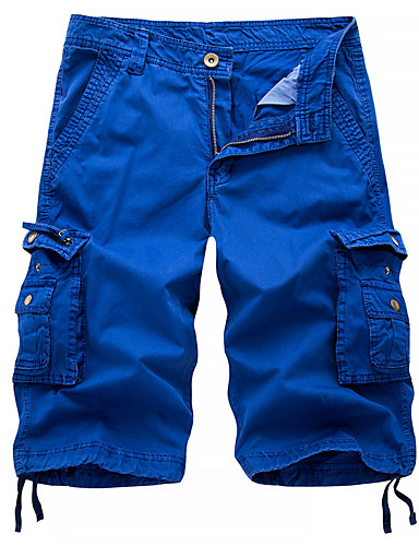abordables Shorts-Hombre Chic de Calle / Militar Chinos / Shorts / Pantalones tipo cargo Pantalones - Un Color Gris Oscuro