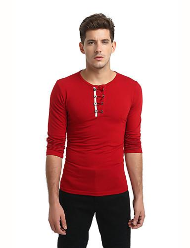 Veći konfekcijski brojevi Majica s rukavima Muškarci - Osnovni / Ulični šik Dnevno / Vikend Jednobojni Okrugli izrez Slim, Kolaž / Dugih rukava