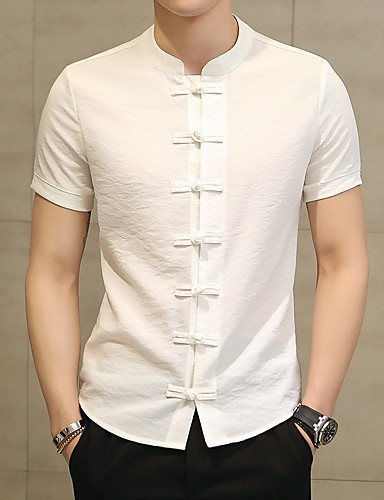 Men's Going out Weekend Chinoiserie Plus Size Cotton / Linen Shirt - Solid Colored Standing Collar Black US36 / Short Sleeve