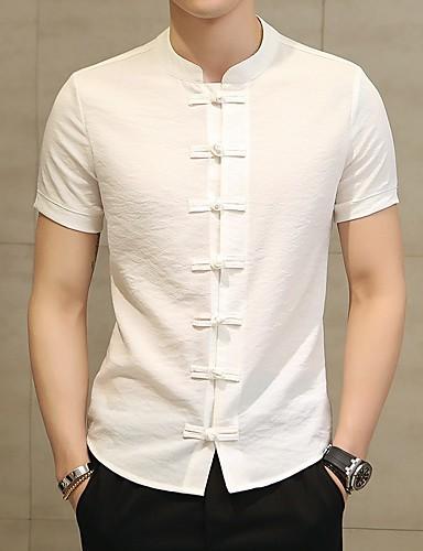 Stående krave Herre - Ensfarvet Bomuld / Hør Kineseri Plusstørrelser Skjorte Sort XXXXL / Kortærmet
