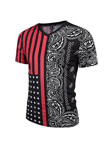 713a1ca8e3e Men s Plus Size Cotton Slim T-shirt - Polka Dot   Striped   Geometric Print  V Neck   Short Sleeve   Summer  06811360