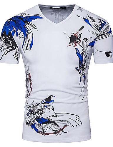 Majica s rukavima Muškarci - Osnovni / Kinezerije Dnevno / Izlasci Pamuk Color block / Životinja V izrez Print / Kratkih rukava