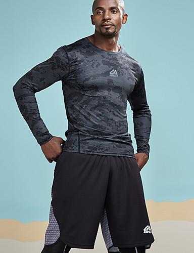 男性用 スポーツ - プリント Tシャツ 活発的 / ベーシック ラウンドネック タイト カモフラージュ / レタード ブラック M / 長袖