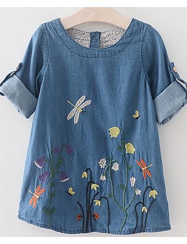 Djeca Djevojčice Osnovni Dnevno Jednobojni Vezeno Kratkih rukava Iznad koljena Haljina Plava 100