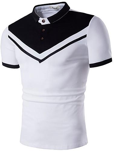 voordelige Herenpolo's-Heren Print Polo Katoen Kleurenblok Overhemdkraag Wit / Korte mouw / Zomer