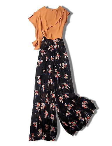 billige Dametopper-Dame Bluse Bukse Blomstret