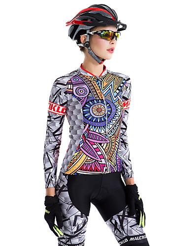 cheap Cycling Clothing-Malciklo Women's Long Sleeve Cycling Jersey with Tights - Purple Plus Size Bike Tights Breathable 3D Pad Quick Dry Back Pocket Winter Sports Coolmax® Lycra Patterned Mountain Bike MTB Road Bike