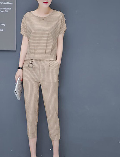 abordables Hauts pour Femmes-Femme Set - Rayé Pantalon